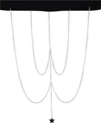 Fayon Silver Chain With Black Star Alloy Anklet at flipkart