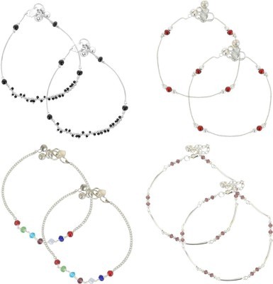 Beadworks Metal Anklets for Girls (COMBO-AKL-4-2) Alloy, Glass, Brass Anklet(Pack of 8) at flipkart