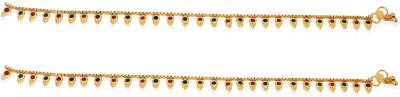 R S Jewels Multi Color Cz Gold Plated Payal Alloy Anklet(Pack of 2) at flipkart