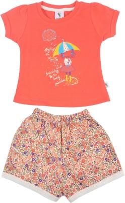 Cucumber Girls Casual T-shirt Trouser(Orange)  available at flipkart for Rs.247