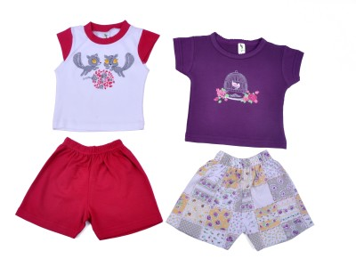 Cucumber Girls Casual T-shirt Trouser(Pink)  available at flipkart for Rs.287