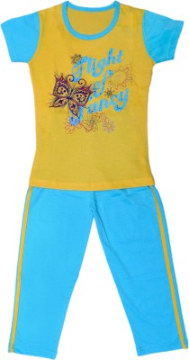 Little Stars Girls Casual Top Pyjama(Multicolor)