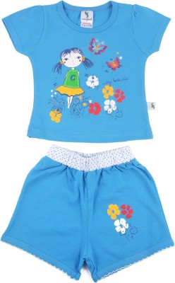 Cucumber Girls Casual T-shirt Trouser(Blue)  available at flipkart for Rs.292