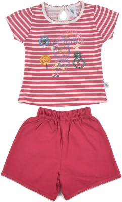 Cucumber Girls Casual T-shirt Trouser(Pink)  available at flipkart for Rs.292