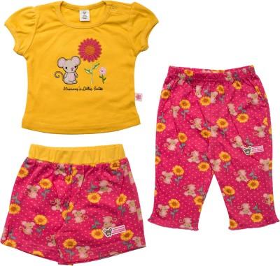 Toffyhouse Girls Casual T-shirt Shorts(Yellow)