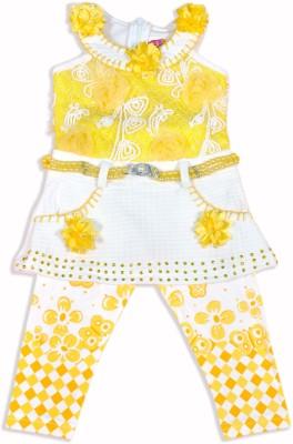 Hey Baby Girls Casual T-shirt(Yellow)