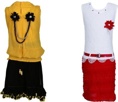 Crazeis Girls Top Skirt(Yellow)