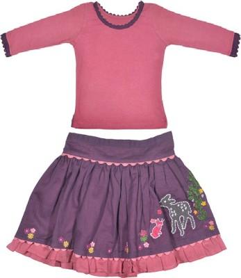 Rute Girls Party(Festive) Skirt T-shirt(Purple)