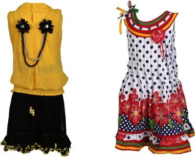 Crazeis Girls Casual Top Skirt(Yellow)