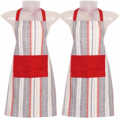 Cotonex Cotton Home Use Apron - Free Size(Red, Grey, Pack of 2) at flipkart