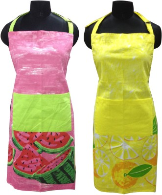 Home Colors Cotton Home Use Apron - Free Size(Multicolor, Pack of 2) at flipkart
