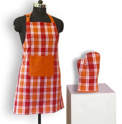 Lushomes Cotton Home Use Apron - Free Size(Red, Orange, Single Piece) at flipkart