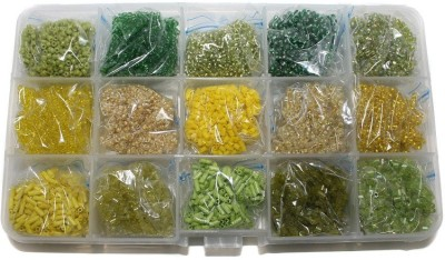 Jaunty Beadsnfashion Jewellery Making Seed Beads Combination Of Green & Yellow DIY Kit (15 Colors)