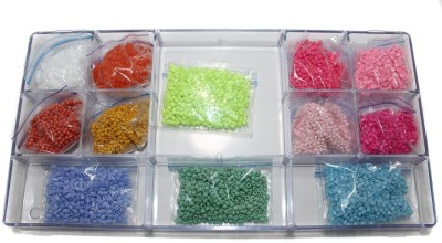 Jaunty Beadsnfashion Jewellery Making Seed Beads Neon & Opaque DIY Kit (12 Colors)
