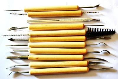 Art and Craft Creations Terracotta Modelling Tool - 11 Pcs Wooden Tools at flipkart