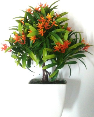 Hyperbole Green, Orange Assorted Artificial Flower  with Pot(25 inch, Pack of 1) at flipkart