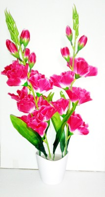Kaykon Beautiful Big Orchid Flowers Pink Orchids Artificial Flower  with Pot(15 inch, Pack of 1) at flipkart