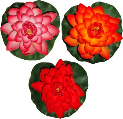 Muhil Floating Lotus Large Red, Orange Assorted Artificial Flower(7 inch, Pack of 3) at flipkart