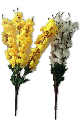 Kaykon Yellow and White Orchid Flower Bunch For Home Decor Multicolor Orchids Artificial Flower(17 inch, Pack of 2) at flipkart