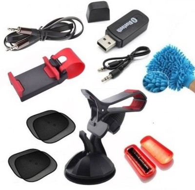 BigWheels Car Accessories Kit of Bluetooth Music Audio Receiver, GPS Holder Stand, Steering Wheel Mobile Phone Mount Socket, 4 PC Foldable auto window sun shade curtain mesh type, Flat Aux Cable, Magic Roller Seat Dust Cleaning Brush, Multi-purpose Cleaning Microfiber Gloves Combo