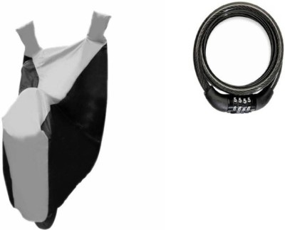 Gking 1 Grey Black bike body cover With 1 Chain Cable Number Lock Combo