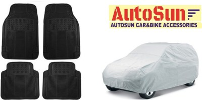 AutoSun Car Body Cover Best Quality Silver + Car Floor Foot Mat Rubber Black For -Hyundai Grand I10 Combo  available at flipkart for Rs.2298