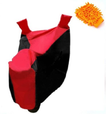 Gking 1 Red Black bike body cover With 1 Microfiber Duster Gloves Combo