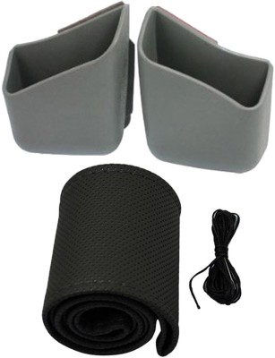 Allure Auto 1 Ring Type Car Steering Cover, 1 Pair Of Car Pillar Pocket Holder Box Combo