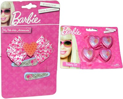 Barbie Bow & clip set with hair ties(Pink)