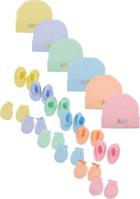 Joymart Joy Mart Unisex Cap (JMA16--3-6 Months, Multicolour, 3-6 Months), 6 Sets of Caps, Mittens & Socks Pack(Multicolor)