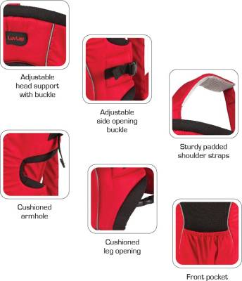 Luvlap Baby Carrier Blossom Baby Carrier (Red/Black)
