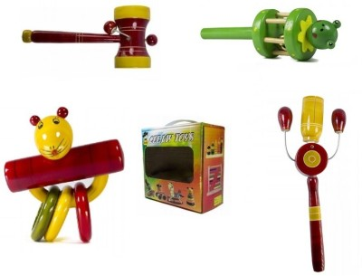 CeeJay Set of 4 Colorful Wooden Baby Toys:Model RA-OW013 Rattle(Multicolor)