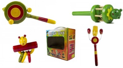 CeeJay Set of 4 Colorful Wooden Baby Toys:Model RA-OW008 Rattle(Multicolor)