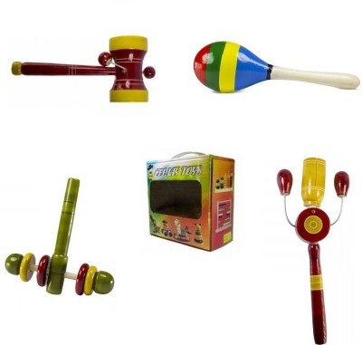 CeeJay Set of 4 Colorful Wooden Baby Toys:Model RA-OW012 Rattle(Multicolor)