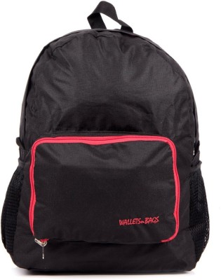 Walletsnbags Checker Foldable Blkrd 2.5 L Small Backpack Black