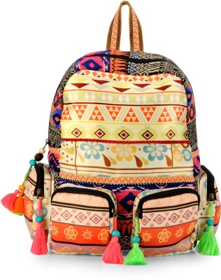 The House of Tara Printed Fabric and Cotton Durrie 27 L Backpack Multicolor The House of Tara Backpack Handbags