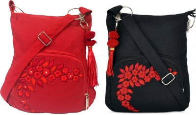 Pick Pocket Combo of two Cute Small Red and Black Sling Bag Messenger Bag(Black, 5 inch)