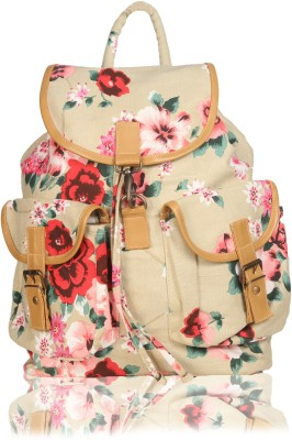 White Flower School Bag(Beige, 17 L) at flipkart