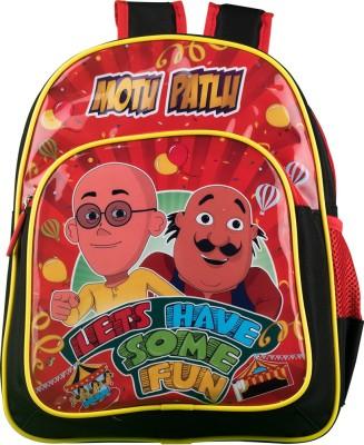 Motu Patlu Bag School Bag(Red, Black, 18 inch)