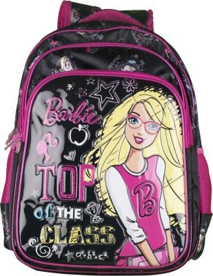 Barbie Black and Pink Waterproof School Bag(Black, 16 inch)