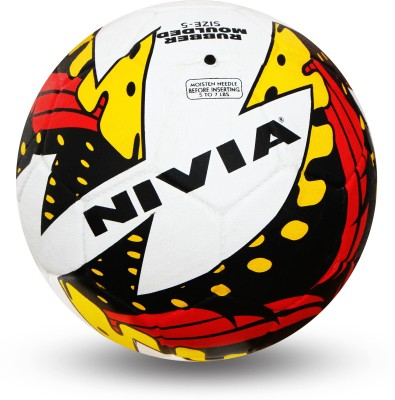 Nivia Typhoon Football -   Size: 5(Pack of 1, Black, Yellow, Red)