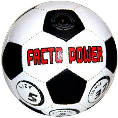 FACTO POWER P.U Football   Size: 5 Pack of 1, White, Black
