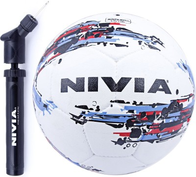 Nivia Storm Football + Double Action Ball Pump Football - Size: 5(Pack of 2, White)