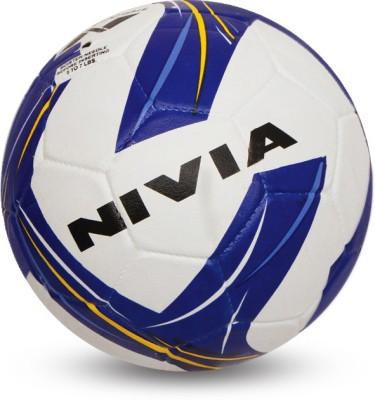Nivia Storm Revolution Football   Size: 5 Pack of 1, White, Blue Nivia Footballs