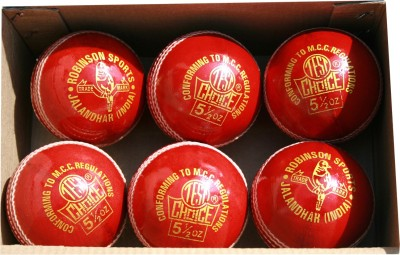 RS Robinson Test Choice Cricket Leather Ball Pack of 6, Red RS Robinson Cricket Balls