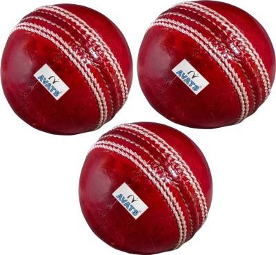 Avats 3 Cricket Ball Set Cricket Leather Ball Pack of 3, Red Avats Cricket Balls