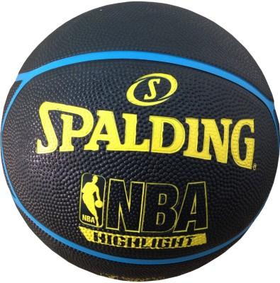 SPALDING NBA Highlight Basketball -   Size: 7(Pack of 1, Black, Yellow, Blue) at flipkart