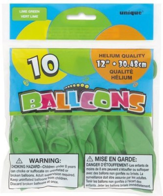 Unique Solid 54523 Balloon(Green, Pack of 10)