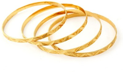 Ethnic Jewels Brass Yellow Gold Bangle Set(Pack of 4)  available at flipkart for Rs.156