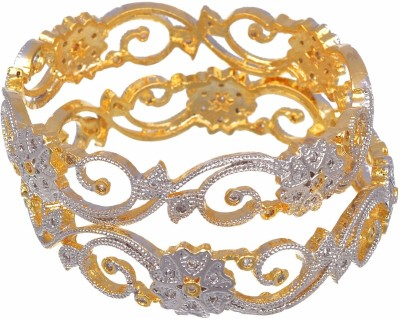 M Creation Alloy 18K Yellow Gold Bangle Set(Pack of 2) at flipkart